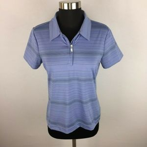 Nike Golf Fit Dry S Stripe Collared SS Partial Zip